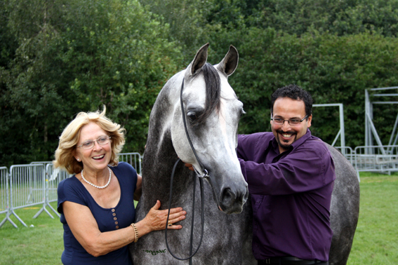 Abbar, his owner Susan Pattyn & his trainer Asad Ali Shah