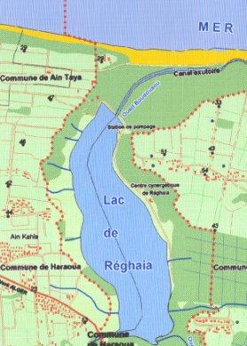 Carte du lac de Reghaia